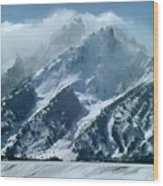 1m9314 Clouds Over The Tetons Wood Print