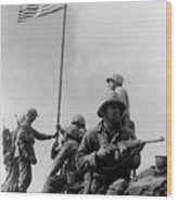 1st Flag Raising On Iwo Jima  Wood Print