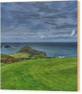 1st Green Cape Cornwall Golf Club Wood Print by Chris Thaxter