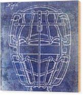 1887 Baseball Mask Patent Blue Wood Print