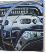 1958 Chevrolet Impala Steering Wheel Wood Print