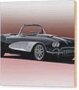 1958 Corvette 'retro' Convertible Wood Print