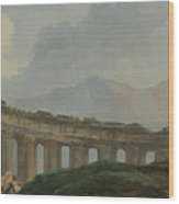 A Colonnade In Ruins Wood Print