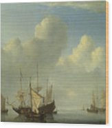 A Dutch Ship Coming To Anchor Wood Print