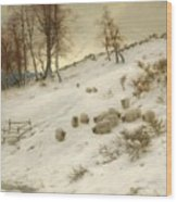 A Flock Of Sheep In A Snowstorm Wood Print