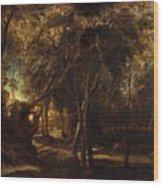 A Forest At Dawn With A Deer Hunt Wood Print