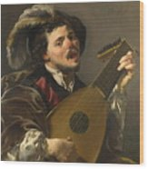 A Man Playing A Lute Wood Print
