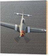 A North American P-51 Mustang In Flight Wood Print