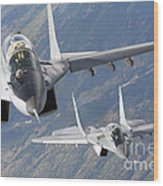 A Pair Of Bulgarian Air Force Mig-29s Wood Print