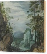 A Rocky Landscape With Travelers Wood Print
