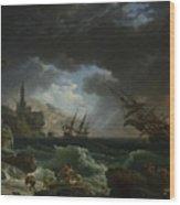 A Shipwreck In Stormy Seas Wood Print