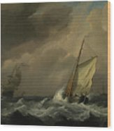 A Small Dutch Vessel Close-hauled In A Strong Breeze Wood Print