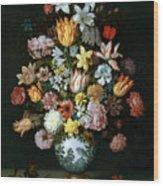 A Still Life Of Flowers Wood Print