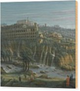 A View Of The Waterfalls And The Villa Of Maecenas Wood Print