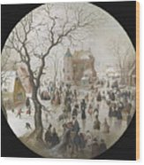 A Winter Scene With Skaters Near A Castle Wood Print