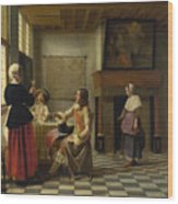A Woman Drinking With Two Men Wood Print