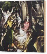 Adoration Of The Shepherds Wood Print
