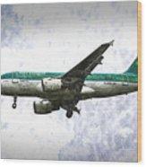 Aer Lingus Airbus A319 Art Wood Print