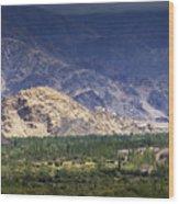 Aerial View Of Leh City Landscape Ladakh Jammu And Kashmir India Wood Print