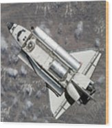 Aerial View Of Space Shuttle Discovery Wood Print by Stocktrek Images