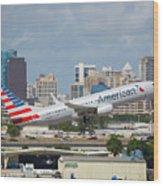 American Airlines Wood Print