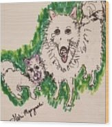 American Eskimo Dog Wood Print