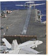 An E-2c Hawkeye Launches Wood Print