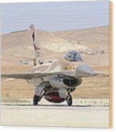 An Israeli Air Force F-16a Netz Taxiing Wood Print