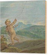 Angel Flying A Kite Wood Print