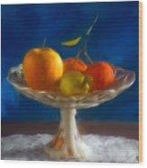 Apple, Lemon And Mandarins. Valencia. Spain Wood Print