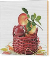 Apples In A Basket  Wood Print