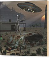 Artists Concept Of A Science Fiction Wood Print