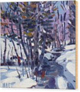 Aspen In The Snow Wood Print