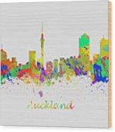 Auckland New Zealand Skyline Wood Print