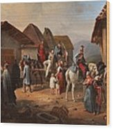 Austrian Cavalry Resting In A Village Wood Print
