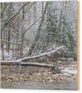 Autumn Snow Williams River  Wood Print