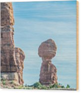 Balanced Rock In Arches National Park Near Moab  Utah At Sunset Wood Print