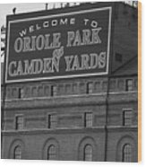 Baltimore Orioles Park At Camden Yards Bw Wood Print