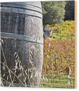 Barrel In The Vineyard Wood Print