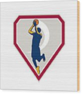 Basketball Player Jump Shot Ball Shield Retro Wood Print