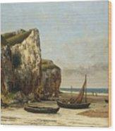 Beach In Normandy Wood Print