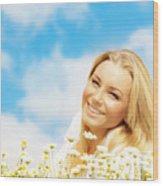Beautiful Woman Enjoying Daisy Field And Blue Sky Wood Print
