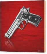 Beretta 92fs Inox Over Red Leather  Wood Print