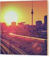 Berlin - Sunset Skyline Wood Print