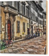 Bicycles In Florence Wood Print