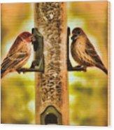 2 Bird's Eating  Wood Print