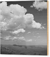 Black And White Blue Ridge Mountains Wood Print