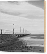 Black And White Image Of Shorncliffe Pier Wood Print