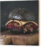 Black Burger With Stews Wood Print