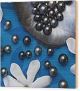 Black Pearls And Tiare Flowers Wood Print